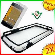 Pellicola+BUMPER nero trasparente pr LG Google Nexus 4 E960 cover custodia bordi