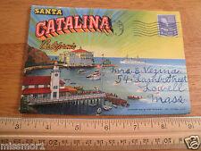 1954 Santa Catalina Island Vintage Postcard folder Casino Glass Bottom Boat