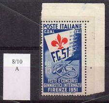 1951 REPUBBLICA GINNICI 15 LIRE FILIGRANA LETTERE USATO C/5376