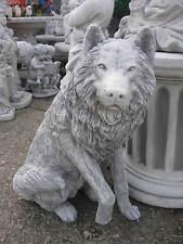 Großer WOLF 70 cm Tierfigur Steinfigur massiv 90 kg Garten Figur frostfest Neu