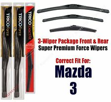 Wiper Blades Trico 3-Pack Front/Rear fits 2014+ Mazda 3 - 25240/180/12a