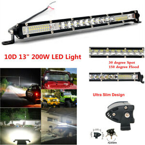 "13"" 200W LED Work Light Bar Combo Spot Flood Beam Driving Lamp Car Truck Offroad"
