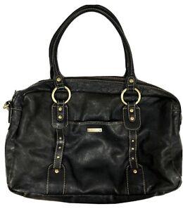 "STORKSAK London ""ELIZABETH"" Black Leather Nappy Diaper Bag *HEAPS Of Storage!*"
