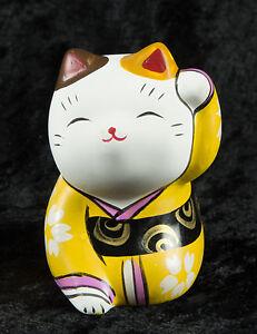 Figurina Gatto Giapponese Bobtail Resina-Maneki-Neko-Kimono Giallo - 278 D1