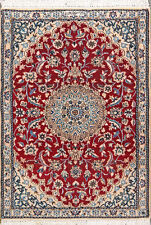 """2' 11"""" x 4' 1""""  Nain, Wool & Silk,  Authentic Hand Knotted Persian Rug"""