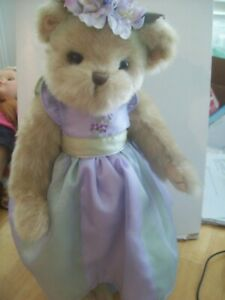 THE BEARINGTON COLLECTION 16-inch Collectible Tan Plush Bear Dressed for a Party