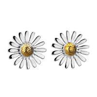 Flowering Daisy Stud Earrings Sterling Silver 925 Hallmarked Studs