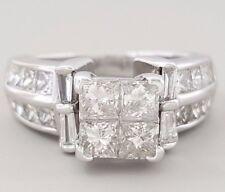 1.75 ct 14K White Gold Invisible Set Princess & Baguette Diamond Engagement Ring