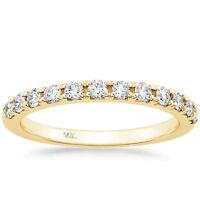 French Pave Diamond Wedding Band Ring 0.35Ct Round 14K Yellow Gold Anniversary