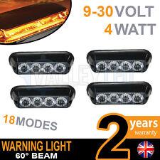 4 x 4 LED Warning Beacon Amber Module Recovery Strobe 12v or 24v HGV Van Hazard