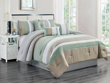 7-Pc Rania Geometric Triangle Comforter Set Mint Green White Gray Taupe Queen