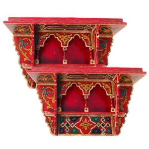 Set of 2 Painted Moroccan shelf, Wall Shelves Floating Shelves Vintage Red Brick