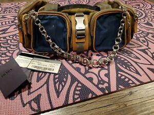Authentic Prada TESSUTO ACTIVE Duffel Bag: Olive Green/ Brown/ Silver Hardware