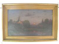 CARL WEINERT geb. 1845 ABEND AM KLOSTER HANNOVER ÖLGEMÄLDE Breite 68 Höhe 41 cm