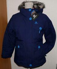 Salomon 366050 White Season Parka Girls Mädchen Ski Pelz Winter Jacke Blau 140