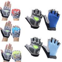 JW_ MTB Cycling Bike Bicycle Silicone Gel Pad Gloves Shockproof Half Finger Pr
