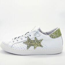 2STAR Sneakers in pelle scarpe basse donna applicazioni glitter ragazza 2SB1623