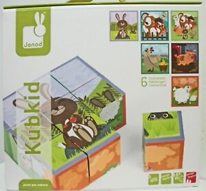 Janod KubKid Farm Animals Cubes Puzzle - SIX PUZZLES in one, age 18-months+