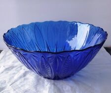 Rare Arcoroc France 24 Avon Royal Sapphire Cobalt Blue Glass Serving/Salad Bowl