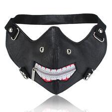 Black Leather Tokyo Ghoul Zipper Punk Half Face Biker Cosplay Motorcycle Mask