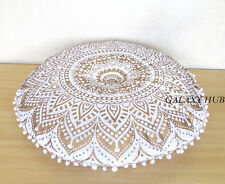 """28"""" Large Handmade Golden Round Pillow Cover Bohemian Floor Pouf Cushion Covers"""