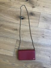 NWB Gucci GG Crossbody Wallet On Chain Red Leather Dollar Purse Clutch
