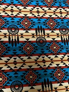 Native Dream Catcher Turquoise & Black cotton Fabric per yd sewing / quilting