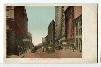 A Street Car Makes its way down Second Ave., Seattle WA 1901-1907 Postcard