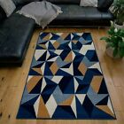 Navy Blue Geometric Rug for Living Room Grey Stylish Extra Long Hallway Runner