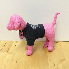"VICTORIA'S SECRET PINK DOG WEARING GREY SHIRT & TAG 6"" TALL STUFFED PLUSH DOLL"