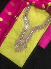 Designer handwork mirror work chanderi silk Salwar suit
