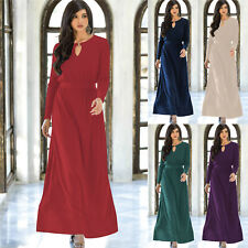 39582111ce728 Womens Long Sleeve Modest Flowy Summer Casual Sexy Gown Cocktail Maxi Dress