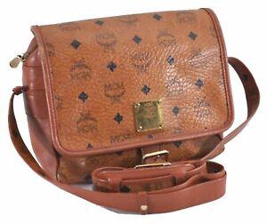 Auth MCM Cognac Visetos Leather Vintage Shoulder Cross Body Bag Brown  D5670