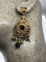 Vintage Red Garnet Earrings Golden 925 Sterling Silver Dangle Chandelier