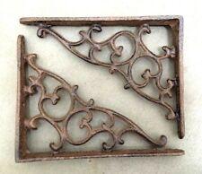 SET OF 2 ORNAMENTAL SHELF BRACKET BRACE Vintage Rustic Antique Brown Cast Iron