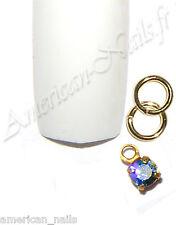 Piercing anneau bijou d'Ongle Strass SWAROVSKI Bleu Sapphire AB 2,5mm Nail Art