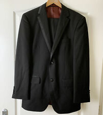 """George Mens Black Two Piece Dinner Suit Size Jacket Chest 36R Trousers 32"""" W 31L"""