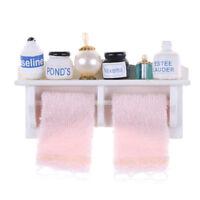 1/12 Dollhouse Miniature Bathroom Set Towel Rack Makeup Cosmetic Set Fad!oPTUKTW