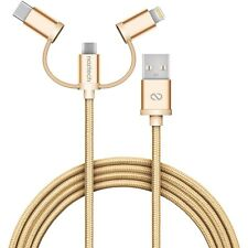 Naztech Braided 3-in-1 Hybrid Single Cable - USB-C, Lightning, Micro USB Devices