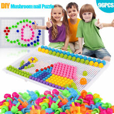 Children Toys Puzzle Peg Board With 96 Mushroom Pegs Model Kits for Kids Gift