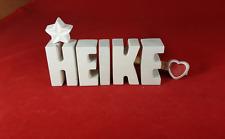 Beton, Steinguss Buchstaben 3D Deko Namen Schrift HEIKE als Geschenk verpackt
