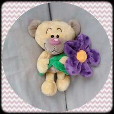 Peluche Doudou Diddl Ours Pimboli Fleur violette a poids TBE 30cm