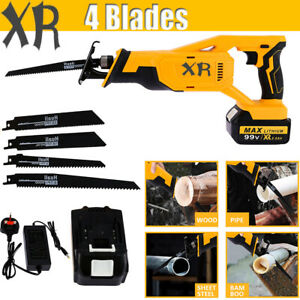 XR 99V Electric Cordless Reciprocating Saw Battery Charger Wood Metal Blades