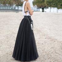 1x 90cm Maxi Long Skirts 3 Layers Shirt Mesh Pleated Women Flared Tutu Skirts UK