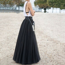 90cm Pop  Maxi Long Skirts 3 Layers Shirt Mesh Pleated Women Flared Tutu Skirts
