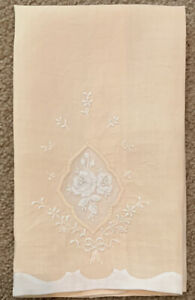 Vintage Embroidered Rose Organdy Linen Hand Tea Towel Peachy Pink