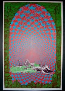 Vintage SATTY Mirage poster Psychedelic Celestial Arts San Francisco 1969 NOS