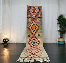 Boujad Moroccan Handmade Vintage Runner 2'5x11 Geometric Faded Green Berber Rug