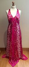 MONSOON PINK SILK MAXI EVENING DRESS SIZE 14  PARTY