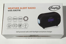 Weather Alert Radio with Flashlight & Phone Charger - USB, Crank & Solar Powered